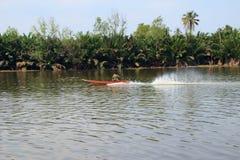Longtail boat. On the Bang Pakong river royalty free stock images