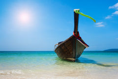 Longtail boat on the beach Stock Images