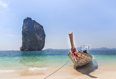 Longtail boat on the beach at poda island krabi, Thaiand. Royalty Free Stock Photo