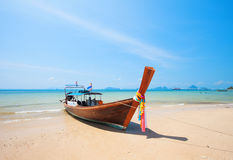 Longtail boat and beautiful beach Stock Images