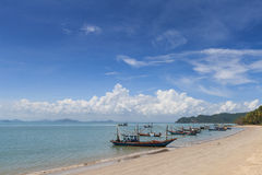 Longtail boat and beautiful beach. koh Tao, Thailand Stock Photos