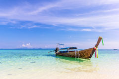 Longtail boat at the beautiful beach Stock Photo
