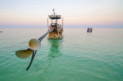 Longtail boat from behind. In Ko Phi Phi, Thailand, view of the propeller Stock Photos