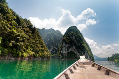 Longtail boat at Cheow Lan Lake, Thailand Stock Photos