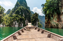 Longtail boat at Cheow Lan Lake, Thailand Royalty Free Stock Image
