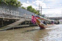 Longtail boat at the clongs in Bangkok, Thailand Stock Photos