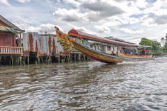 Longtail boat at the clongs in Bangkok, Thailand Royalty Free Stock Images