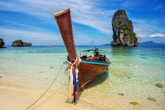 Longtail boat at famous sunny Long Beach. Krabi Thailand, Andaman sea Stock Images