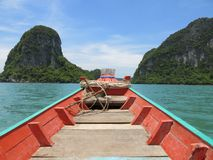 Longtail boat in Khanom, Thailand. Traditional longtail boat in Khanom, Thailand, on a trip to see pink dolphins Royalty Free Stock Photo
