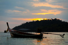 Longtail Boat Ko Lipe Coastline Cloudy Sunset Sky Stock Photo