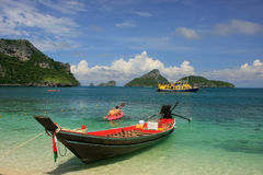 Longtail boat at Mae Koh island, Ang Thong National Marine Park, Stock Image