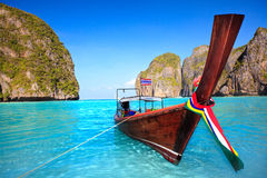 Longtail boat at Maya bay. Traditional longtail boat at Maya bay. Thailand royalty free stock photo