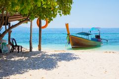 Longtail Boat Moored At Aonang Beach Against Sky Stock Image