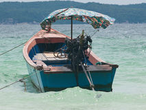 Longtail boat moored at sea in Thailand Royalty Free Stock Photos