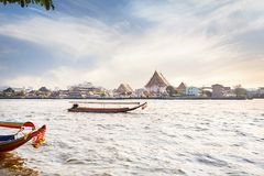 Longtail boat near Wat Arun Royalty Free Stock Photos