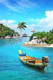 Longtail boat in paradise. Longtail boat in turquoise waters, Koh Tao, Thailand royalty free stock images