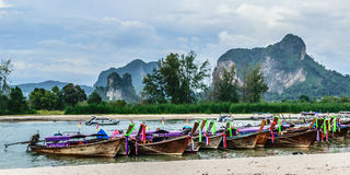 Longtail boat parking. At the coastline of aonang beach krabi  thailand Royalty Free Stock Image