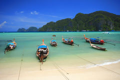 Longtail boat at Phi Phi Don island, Andaman sea. Stock Photos