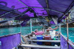 The longtail boat in phi phi island,thailand, Royalty Free Stock Photos