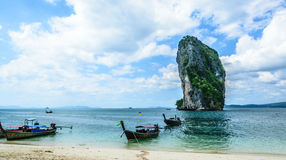 Longtail boat in poda island. Transportation in poda island in Andaman sea in krabi thailand Royalty Free Stock Image