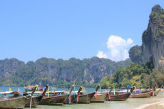 Longtail boat at railay Beach Stock Images