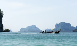 Longtail boat, Railay beach in Thailand Royalty Free Stock Image