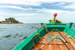 Longtail boat ride. Riding on a longtail boat heading to a small island in the gulf of Thailand Royalty Free Stock Images