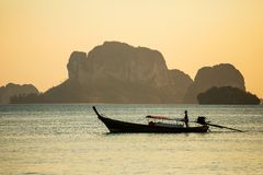 Longtail boat in the sea royalty free stock photography