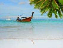 Longtail boat on the sea tropical beach Stock Photos