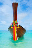 Longtail boat on the sea tropical beach Stock Photography