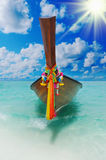 Longtail boat on the sea tropical beach Royalty Free Stock Image
