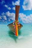 Longtail boat on the sea tropical beach Stock Images