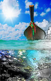 Longtail boat on the sea tropical beach Stock Photo