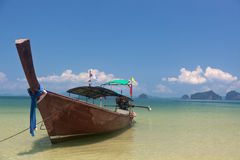 Longtail boat. On the shore in Krabi, Thailand stock images