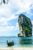 Longtail boat at the shore. Transportation in poda island in ndaman sea in krabi thailand Stock Photo