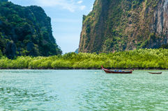 Longtail boat stopped in front of mangrove trees, Phang nga bay, Royalty Free Stock Images