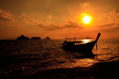 Longtail boat on sunrise. On the coast of Andaman sea in Thailand Royalty Free Stock Photography