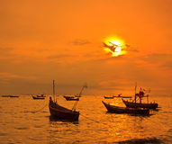 Longtail boat in the sunset Royalty Free Stock Photo