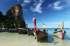 Longtail boat on a Thai Beach, Krabi Royalty Free Stock Images