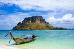 Longtail boat in Thailand. Longtail boat and scenery in Krabi provence, Southern Thailand stock photography