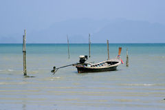 Longtail boat in thailand. Longtail boat landing in Koh Yao Noi island in Thailand Royalty Free Stock Photos