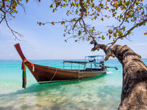 Longtail boat, Thailand. Longtail boat on Koh Rock Island, Thailand Stock Photos