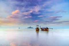 Longtail boat of Thailand. Traditional long tail boat at sunset in Ao Nang Krabi Thailand Stock Photography