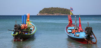 Longtail boat in Thailand. Traditional longtail boat moored on the waterfront of Thailand Stock Photos