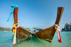 Longtail boat at the tropical beach Royalty Free Stock Images