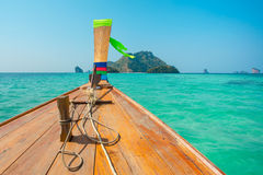 Longtail boat at the tropical beach in Andaman sea Stock Photos