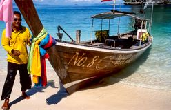 Longtail boat on tropical beach Royalty Free Stock Image