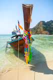 Longtail boat at the tropical beach of Poda island Stock Images