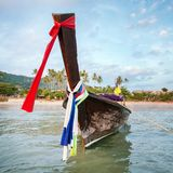 Longtail boat at the tropical beach, Thailand royalty free stock photo