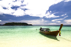 Longtail boat  and  Tropical beach with white sand Stock Photography